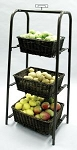 Rectangular 3 Tier Willow Display Baskets - Bronze Finish