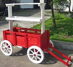 Red Accent Wagon Display - With White Wheels