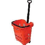 Plastic Red Rolling Shopping Baskets - 10ct