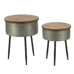 Round Metal Storage Table w/Wood Top - Set of 2