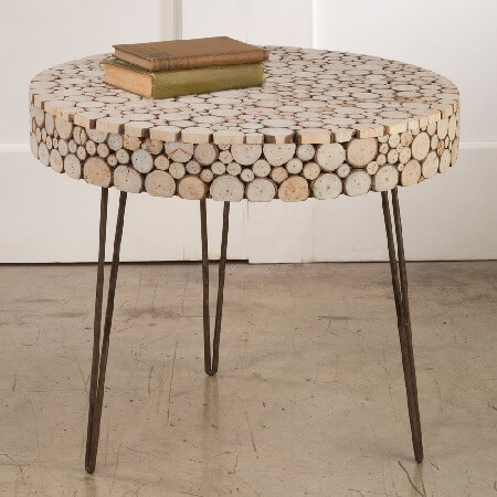 Round Wood Cutout Display Table Accent Table Retail Stand
