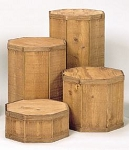 Round Wood Pedestal Set - 4pc - Color Choice