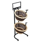 Two-Toned Wicker 2 Basket Display Stand