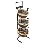 Two-Toned Wicker 3 Basket Display Stand