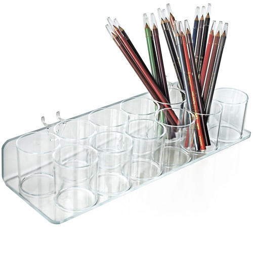 twelve cup tray for pegboard slatwall cosmetic organizer
