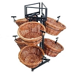 Two Toned Round 6 Basket Willow Triangle Base Display
