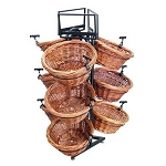 Two Toned Round 9 Basket Willow Triangle Base Display