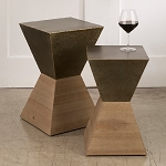 Wood and Metal Hourglass Table Set