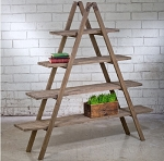 Wood Ladder A-Frame 4 Shelf Display