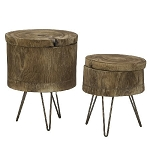 Wood Tree Stump Tables With Storage - Set of 2