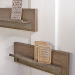 Wood Wall Shelves w/Metal Ledge - 2ct