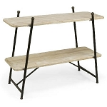 Wooden 2-Tiered Shelf Floor Stand