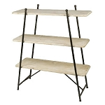 Wooden 3-Tiered Flat Shelf Display Rack