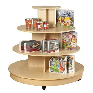 4 Tier Table With Casters Rolling Display Round Table
