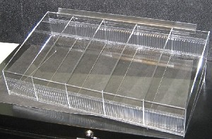 Clear Acrylic Slatwall Tray w/ Removable Dividers