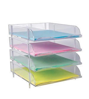Clear Stackable Letter Tray   4ct | Stacking Plastic Trays