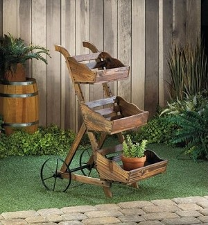 Wooden 3-Tier Floral Cart Display