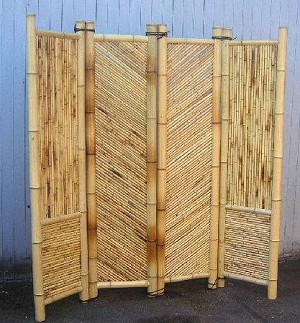 "Four Panel Bamboo Screen Divider - 18"" W Panel"