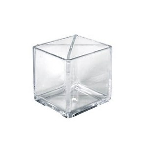 "Divided Cube Pencil Holder 4""- 2ct"