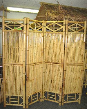 "18"" Four Panel Bamboo Screen Divider"