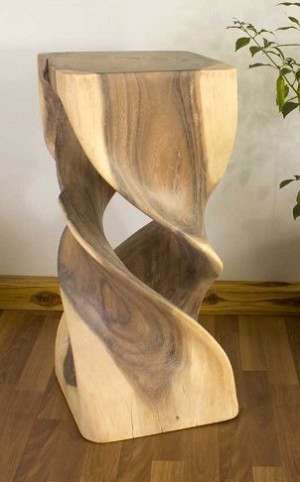 Hand Carved Double Twist Stand - 12in. x 26in.