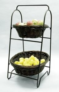 Oval Willow Display Baskets (2-Tier) -Bronze Finish