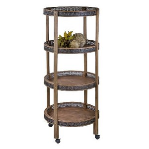 Rustic 4 Shelf Portable Display Cart
