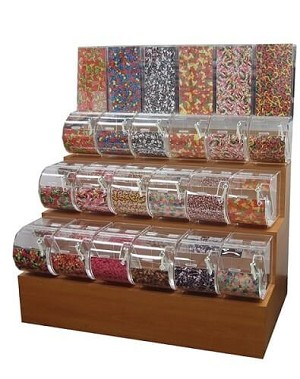 3-Tier Wood Candy Rack -  7 1/2 inch w Bins