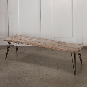 Weathered Wood Bench Display Table