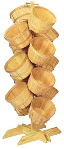 Wood Basket Floor Tree Display - (14) 1 Peck Baskets